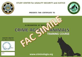 ATTESTATO CRIME AGAINST ANIMALS